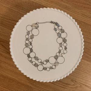 Silver Hoop Layered Necklace